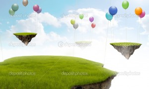 Suspended land with air balloon in the sky